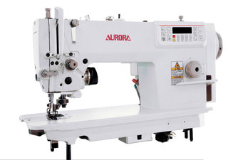 AURORA A-7510 Automatic lockstitch machine with a knife for material edge trimming.