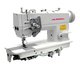 AURORA A-875 Two-needle machine with needle feed, enlarged hook and split needle bar, for heavy materials