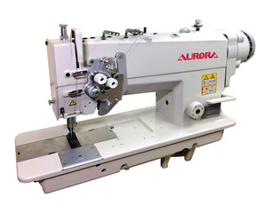 AURORA A-875D-05 Double-needle direct drive sewing machine with enlarged hook for heavy materials